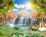 Image of Mr Green in a magical word with waterfalls and beautiful gardens and slot machines